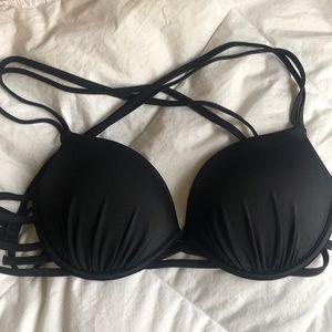 Black Strappy Push Up Bikini Set